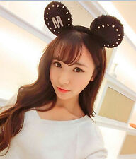 Women Girls Kids Mickey Minnie Mouse Round Ears Costume Party hair Headband Prop