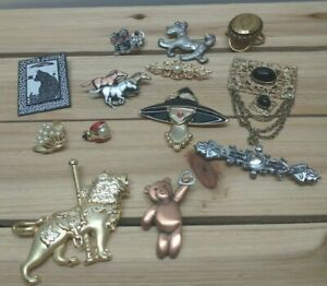 Brooch Lot Sterling Silver Dog, Gold Tone Faux Pearl Floral Signed Taiwan & More