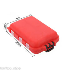 Fishing Tackle Box 10 Compartments Small Size for Fishing Hooks Beads Red