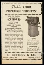 1947 Cretors Modèle 41 Commercial Popcorn Popping Machine Vintage Photo Annonce