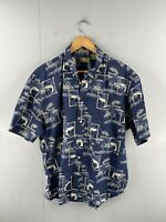 Natural Issue Men's Vintage Short Sleeve Hawaiian Fish Shirt Size XL Blue