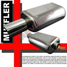 """Universal 4.5"""" Tip 2.5"""" Inlet Oval Can Muffler Exhaust T304 Stainless Steel"""