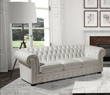 Divano sofà salotto 3 tre posti Chesterfield vintage imbottito in vera pelle