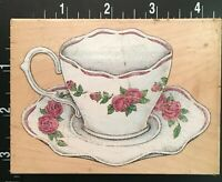 ELEGANT ROSE TEA CUP All Night Media Wood Mounted Rubber Stamp
