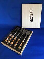 "New Set of five Chisel ""NOMIKATSU"" with wood Box Carpenter tool Japanese NOMI"