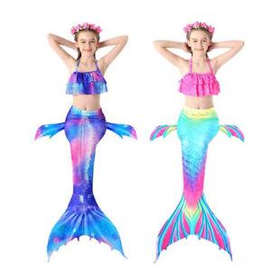 Kids Girls Mermaid Tail Bikini Swimsuit Costume swimwear 3 Pcs Set 3-8 Years