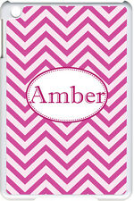 Monogrammed Pink Chevron Design on iPad Mini White Case Cover