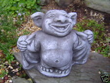 Wichtel Troll Steinfiguren für Garten Deko Steinguss Gnom Fantasiefigur