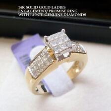 14K SOLID GOLD LADIES ENGAGEMENT WEDDING RING 1.10 ct GENUINE DIAMONDS SIZE 7