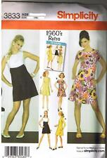 Vintage 60s Retro Mini Dress New Simplicity Sewing Pattern Size 6 8 10 12 14