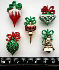 CHRISTMAS ORNAMENTS Craft Buttons 1ST CLASS POST Tree Present Charm Bauble