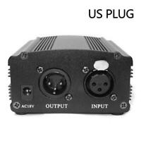 AC 48V Phantom Power Supply USB Power Adapter For Micro Condenser Q0Y7