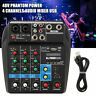 4 Channels Audio Mixer with 48V Phantom Power Mixer Console Bluetooth Record USB