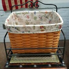 Longaberger Newspaper Basket Set Protector Liner Wrought Iron Rack 2001 Country