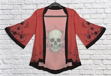 Floral Skull Kimono Jacket Summer Beach Cover Up