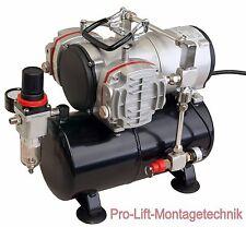 2 Zyl. Kolben-  Airbrush Kompressor AS-28A Druckminderer  3 Liter Lufttank 01763