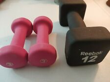 Reebok Square Neoprene 12LB Pound Dumbell & 3LB Hot Pink Dumbell Set - Fitness
