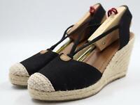 Solanz Rebekah Women's Canvas Black Espadrille Wedge Heel Shoes Size 8M