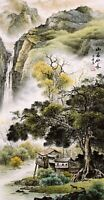 HANDPAINTED ORIENTAL FAMOUS ASIAN ART CHINESE SANSUI WATERCOLOR PAINTING-House