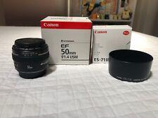 Obiettivo Canon 50mm. f1.4 USM come nuovo perfetto più regalo paraluce