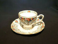 Tuscan Orleans Tea Cup and Saucer Floral Blue Scroll Motif Gold Trim England Vtg