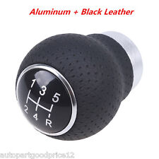 5-Speed Black Leather Aluminum Universal Manual Car SUV Gear Shift Shifter Knob