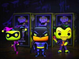 Batman Blacklight Funko Pop Set of 3! PREORDER! W/PROTECTORS!