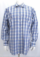 Peter Millar Men's Cotton Blue White Plaid Long Sleeve Button Front Shirt L