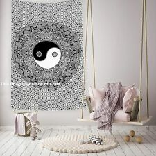 Indian Yin Yang Mandala Cotton Bedspread Hippy Tapestry Beach Throw Wall Hanging