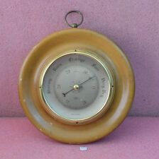 "Shortland Smiths Aneroid Barometer 11"" round solid wood Made in England."