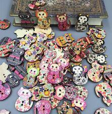 50pcs DIY Wooden Retro Novelty Cat Design Buttons Sewing Button art crafts 30mm
