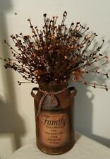PRIMITIVE DECOR  Rusty Milk Can Berry Display Family Saying