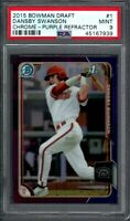 DANSBY SWANSON ROOKIE 2015 Bowman Chrome Purple Refractor /250 Graded PSA 9 MINT