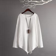 Womens Summer Boho Cotton Linen Top Casual Asymmetric Blouse T Shirt Tee S-5XL