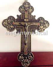 "Large 12"" Crucifixion of Jesus Christ Decor vintage Bronze wall cross Catholic"