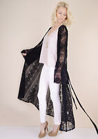 Womens Long Maxi Duster Cardigan Black Embroidered Sheer Lace Boho Jacket Kimono