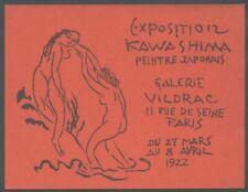 KAWASHIMA ami de Foujita Invitation Expositon Galerie Vildrac 1922