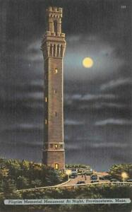 PROVINCETOWN, Massachusetts MA  PILGRIM MEMORIAL Night~Full Moon c1940s Postcard