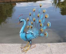 Primus grandi vivace fan di Metallo Blu Pavone-Decorazione Giardino-animale in metallo