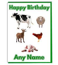 Personalizado Granja Animales Tarjeta Cumpleaños - Papá Mamá Hermano Son