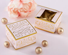 156 Modern Romance Pink and Gold Square Wedding Favor Boxes