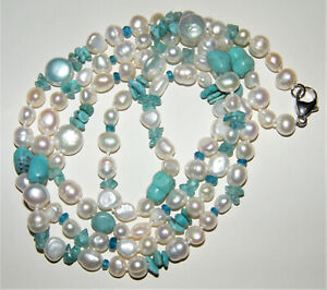 Sterling Silver TL925 STONE BEADS NECKLACE Pearl~Turquoise~Aquamarine~Blu Quartz