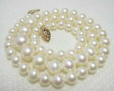"Fine Graduated AAA White 4.5-9mm Akoya Pearl Necklace 15"" 16"" 17"" 14K Gold"