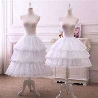 Lolita Adjustable 3 Hoop Chiffon Petticoat Crinoline Cage Bustle Skirt Pannier