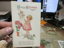 Old Antique Victorian Era Merry Christmas Postcard Cute Baby Girl Pink Dress Ivy