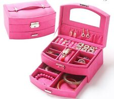 Travel Medium Size Lockable Jewelry Case with Mirror and Drawer - Pink