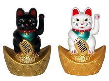 2 x 10cm Winkekatze Glückskatze Glücksbringer Maneki Neko Feng Shui Glück Katze