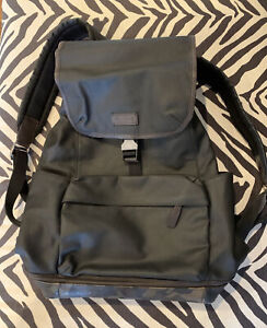 Coach Mens Backpack Black With Camo, Brown Leather Trim Very Rare Pre Owned