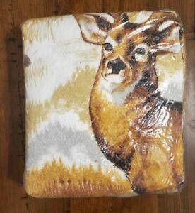 "Vintage Twin Deer Blanket 72"" x 90"" Buck Polyester/Nylon Farmhouse Cabin 🇺🇸"