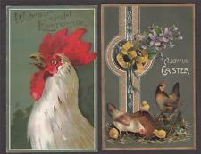 2 Antique  Easter Postcards - Large Rooster & Hens With Chicks -1908-9